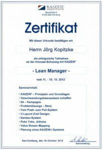 Zertifikat KaiZen Inst Kopitzke, Bad Homburg
